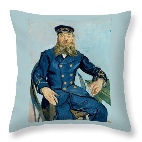 1888 Throw Pillow featuring the painting Postman Joseph Roulin by Vincent van Gogh