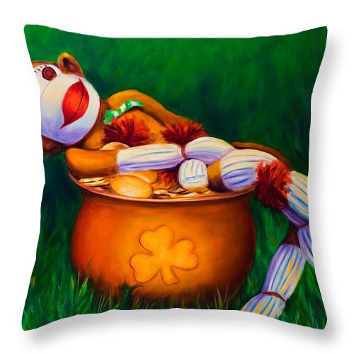 St. Patrick's Day Throw Pillow featuring the painting Pot O Gold by Shannon Grissom