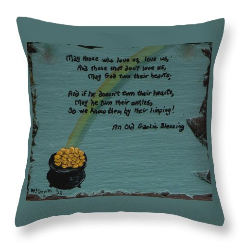 Irish Throw Pillow featuring the painting Pot Of Gold by Barbara McDevitt