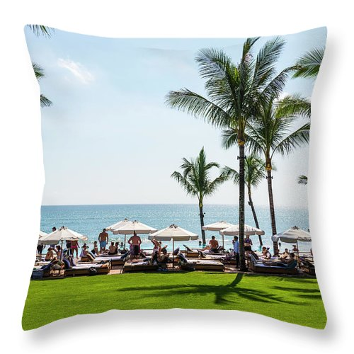 Scenics Throw Pillow featuring the photograph Potatoe Head Beach Bar, Seminyak, Bali by John Harper