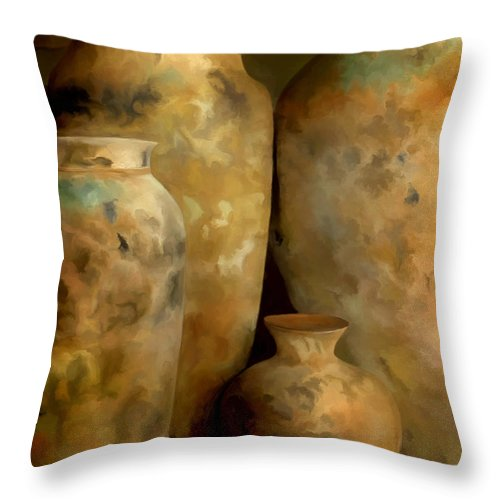 Still Life Throw Pillow featuring the painting Pots Of Time by Michael Pickett