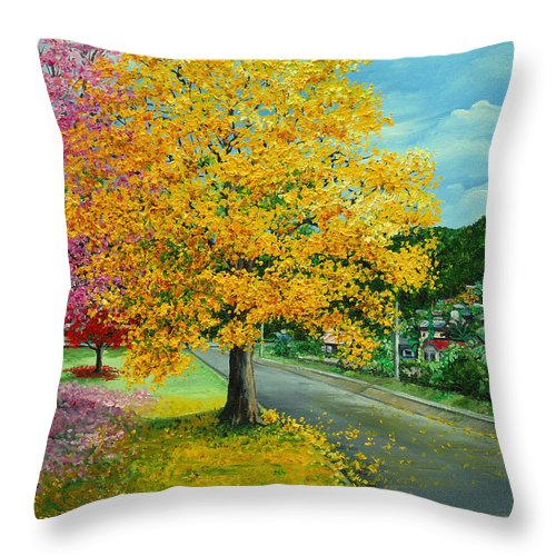 Poui Trees Throw Pillow featuring the painting Poui In Diego by Karin Dawn Kelshall- Best
