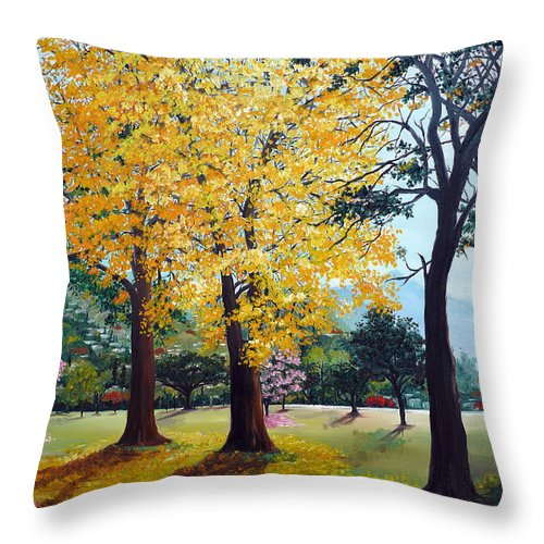 Tree Painting Landscape Painting Caribbean Painting Poui Tree Yellow Blossoms Trinidad Queens Park Savannah Port Of Spain Trinidad And Tobago Painting Savannah Tropical Painting Throw Pillow featuring the painting Poui Trees In The Savannah by Karin Dawn Kelshall- Best