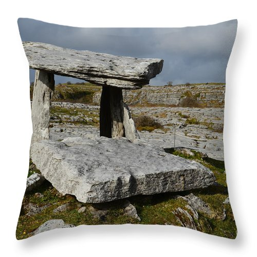 Poulnabrone Portal Tomb Throw Pillow featuring the photograph Poulanbrone Tomb by DejaVu Designs