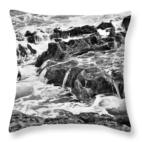 Water And Rock Photographs Throw Pillow featuring the photograph Pouring Rocks by David Davies