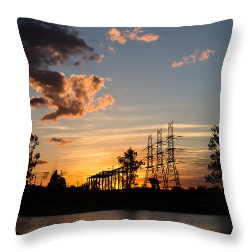 Sunset Throw Pillow featuring the photograph Power In The Sunset by Michael Podesta