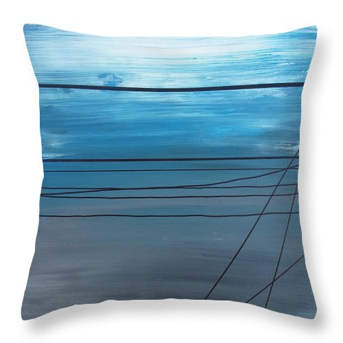Abstractionsbyronda Throw Pillow featuring the painting Power Lines 14 by Ronda Stephens