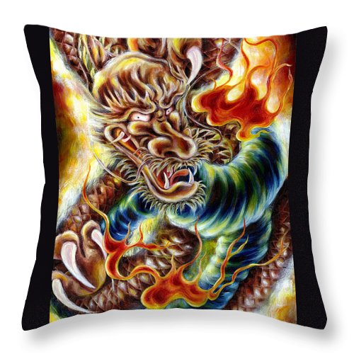 Caving Throw Pillow featuring the painting Power Of Spirit by Hiroko Sakai