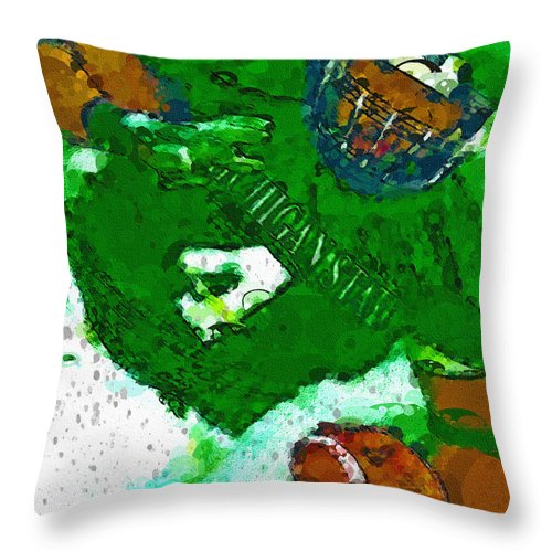 Michigan State Throw Pillow featuring the painting Power Tailback Power by John Farr