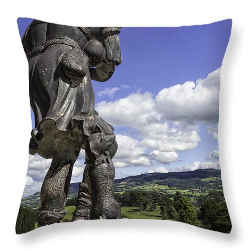 Statue Throw Pillow featuring the photograph Powis Castle Bagpipper by Fran Gallogly