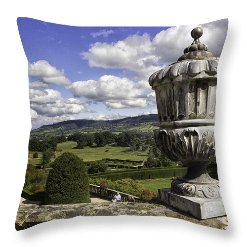 Wales Throw Pillow featuring the photograph Powis Castle Garden Urn by Fran Gallogly