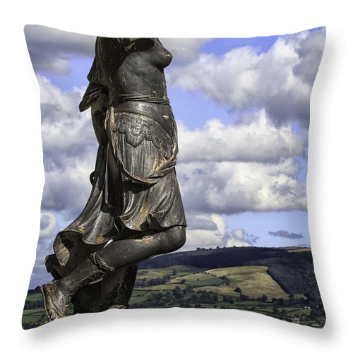 Wales Throw Pillow featuring the photograph Powis Castle Statuary by Fran Gallogly