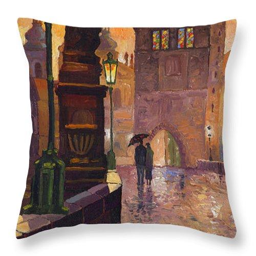 Prague Throw Pillow featuring the painting Prague Charles Bridge 01 by Yuriy Shevchuk
