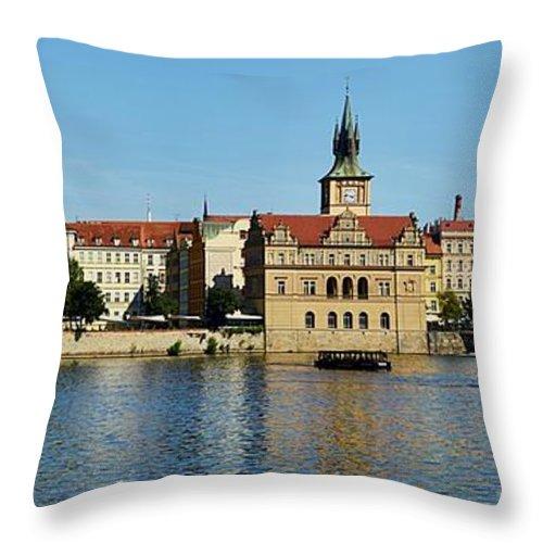 Prague Throw Pillow featuring the photograph Prague East And Charles Bridge by Steven Liveoak