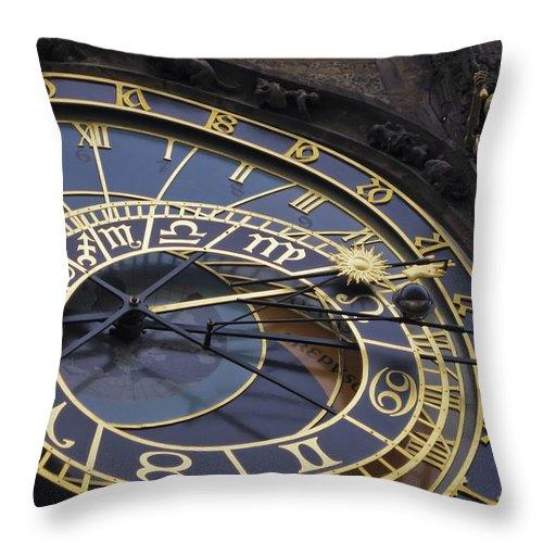 3scape Photos Throw Pillow featuring the photograph Prague Orloj by Adam Romanowicz