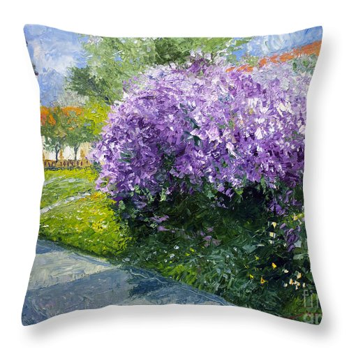 Oil On Canvas Throw Pillow featuring the painting Prague Spring Loreta Lilacs by Yuriy Shevchuk