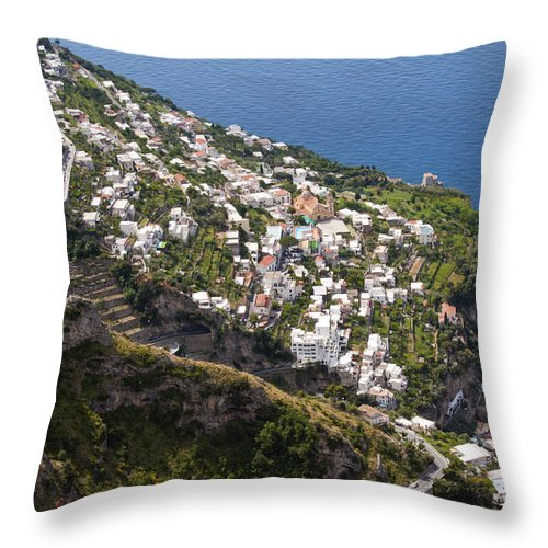 Praiano Amalfi Coast Mountain Mountains Village Villages Church Churches Mediterranean Sea Water House Houses Building Buildings Structure Structures Architecture Hillside Farm Farms Landscape Landscapes Waterscape Waterscapes Throw Pillow featuring the photograph Praiano Village by Bob Phillips