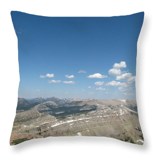 Chinese Wall From Prairie Reef Fire Lookout Throw Pillow featuring the photograph Prairie Reef Lookout North by Pam Little