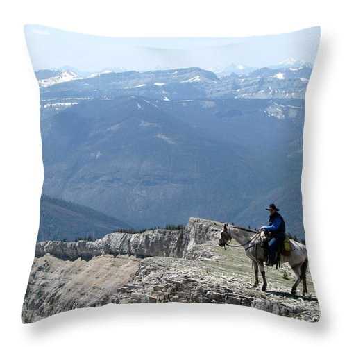 Prairie Reef Fire Lookout Throw Pillow featuring the photograph Prairie Reef View With Horse And Rider by Pam Little