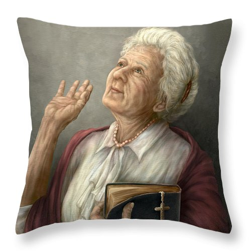 Praise Throw Pillow featuring the painting Praise by Beverly Levi-Parker