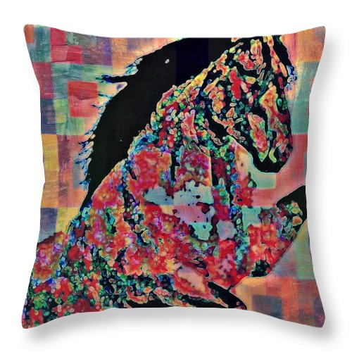 Horse Throw Pillow featuring the mixed media Prance by Wendie Busig-Kohn
