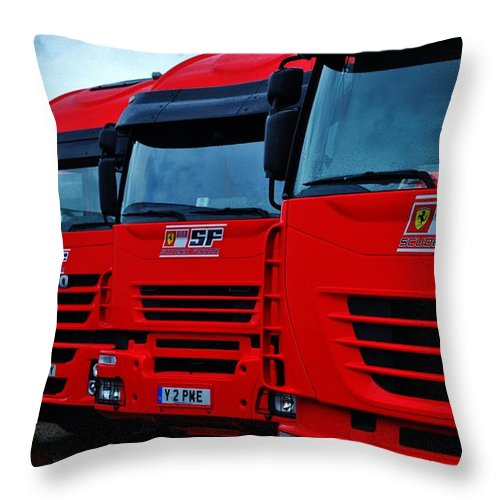 Ferrari Throw Pillow featuring the photograph Prancing Horses by David Lloyd Edwards