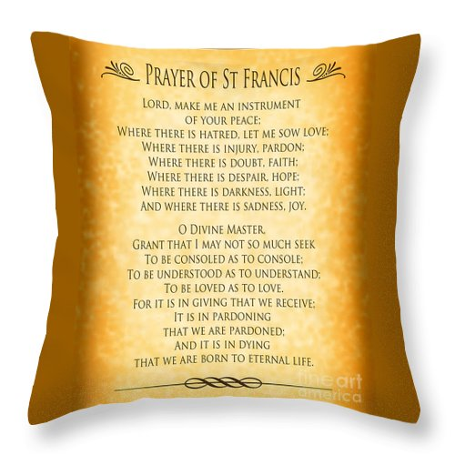 Prayer Of St Francis Throw Pillow featuring the digital art Prayer Of St Francis - Pope Francis Prayer - Gold Parchment by Ginny Gaura