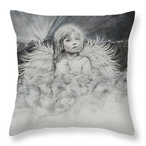 Angel Drawing Throw Pillow featuring the drawing Prayers To An Angel by Tracy Male