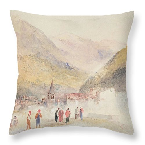 Italy Throw Pillow featuring the drawing Pre St Didier, 1836 by Joseph Mallord William Turner