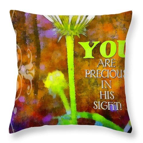 Jesus Throw Pillow featuring the digital art Precious by Michelle Greene Wheeler