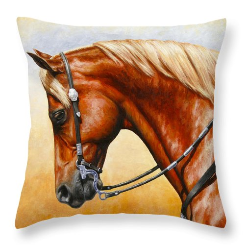 Horse Throw Pillow featuring the painting Precision - Horse Painting by Crista Forest