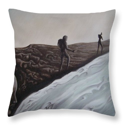 Tmad Throw Pillow featuring the painting Premonition by Michael TMAD Finney