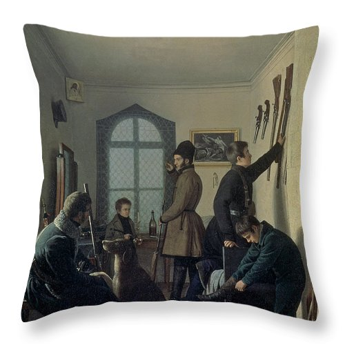 Hunter Throw Pillow featuring the photograph Preparations For Hunting, 1836 by Jevgraf Fiodorovitch Krendovsky
