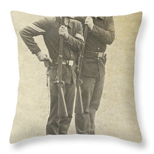 Soldiers Throw Pillow featuring the photograph Prepare To Fire by Peg Runyan