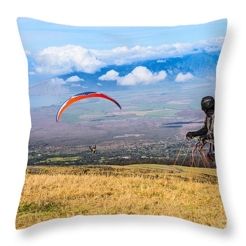 Paragliders Throw Pillow featuring the photograph Preparing For Take Off - Paragliders Taking Off High Over Maui. by Jamie Pham