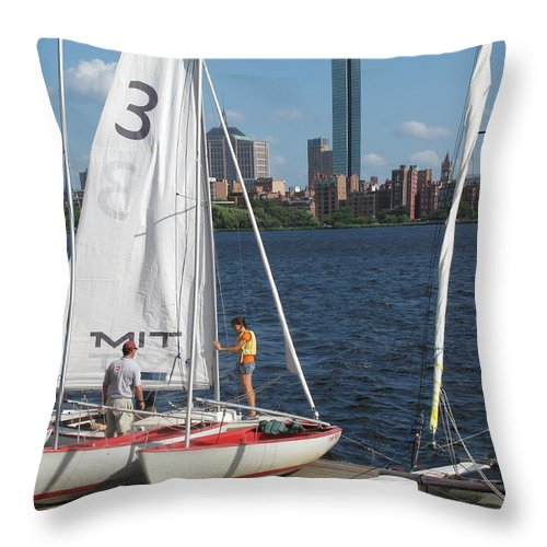 Sail Boat Throw Pillow featuring the photograph Preparing To Sail In The City. by Barbara McDevitt