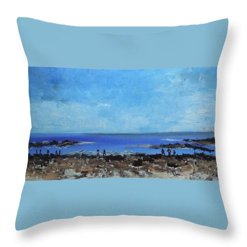 Landscapes Throw Pillow featuring the painting Prescott Park Portsmouth Nh by Michel Croteau