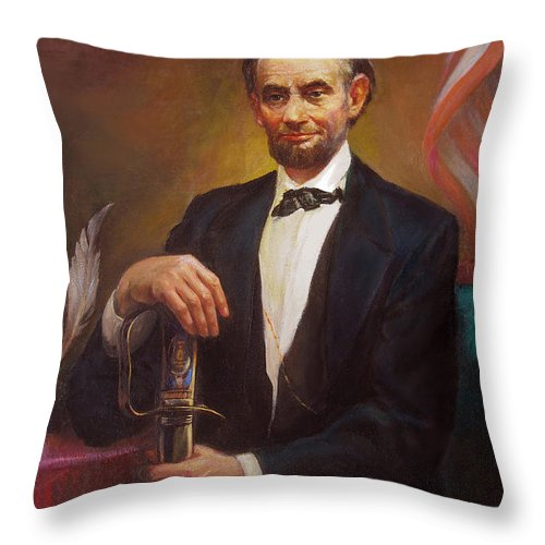 Abraham Throw Pillow featuring the painting President Abraham Lincoln by Svitozar Nenyuk