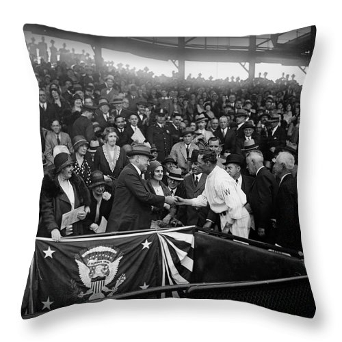 Opening Day Throw Pillow featuring the photograph President Herbert Hoover And Baseball Great Walter Johnson 1931 by Mountain Dreams