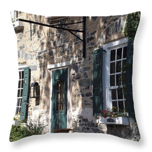 Brick Building Throw Pillow featuring the photograph Pretty Brick Building And Flower Boxes by Living Color Photography Lorraine Lynch