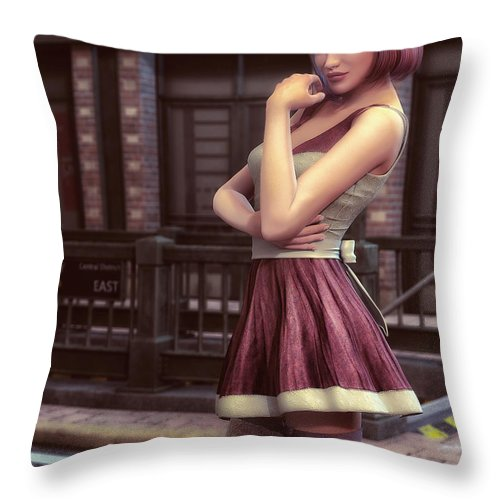 3d Throw Pillow featuring the digital art Pretty For The Party by Jutta Maria Pusl