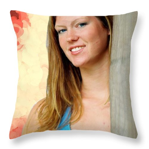 Girl Throw Pillow featuring the painting Pretty Girl by Bruce Nutting