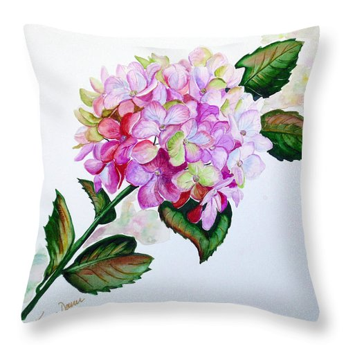 Hydrangea Painting Floral Painting Flower Pink Hydrangea Painting Botanical Painting Flower Painting Botanical Painting Greeting Card Painting Painting Throw Pillow featuring the painting Pretty In Pink by Karin Dawn Kelshall- Best