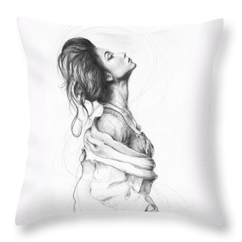 Pencil Drawing Throw Pillow featuring the drawing Pretty Lady by Olga Shvartsur