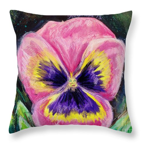 Flower Throw Pillow featuring the painting Pretty Pink Pansy Person by Shana Rowe Jackson