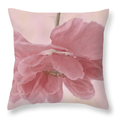 Poppy Throw Pillow featuring the photograph Pretty Pink Poppy Macro by Sandra Foster