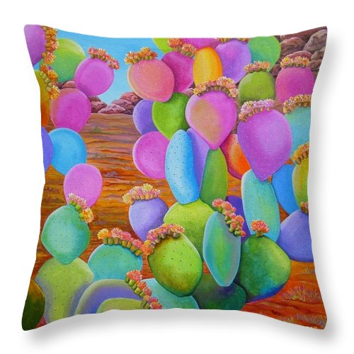 Cactus Throw Pillow featuring the painting Prickly Pear Cactus-Eye Candy by Carol Sabo