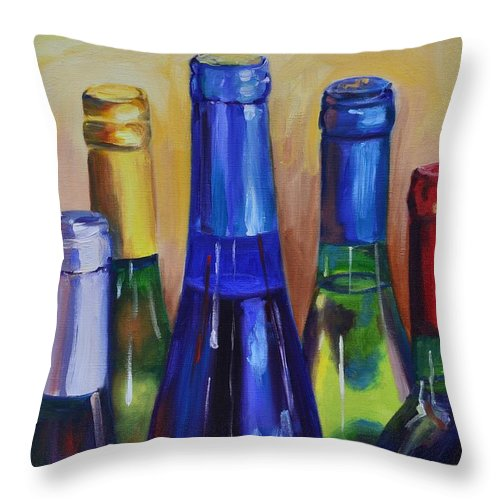 Wine Throw Pillow featuring the painting Primarily Wine by Donna Tuten