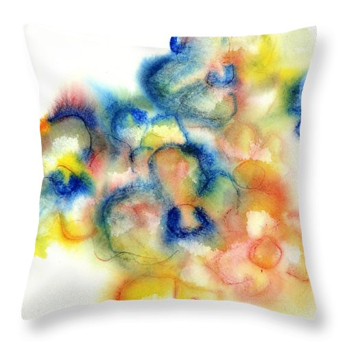 Watercolor Paintings Throw Pillow featuring the painting Primary Bouquet I by Chris Paschke