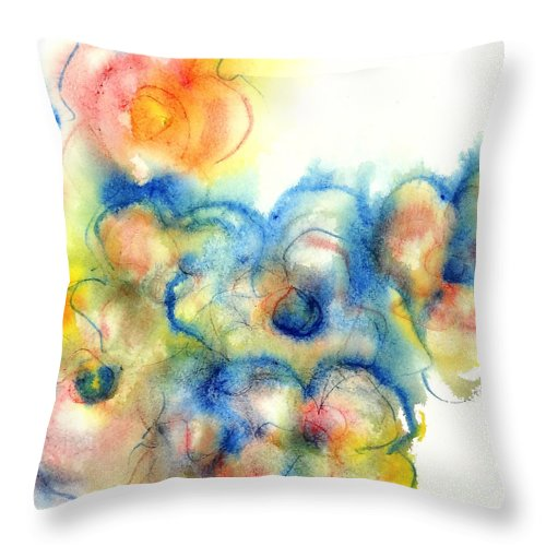 Watercolor Paintings Throw Pillow featuring the painting Primary Bouquet II by Chris Paschke